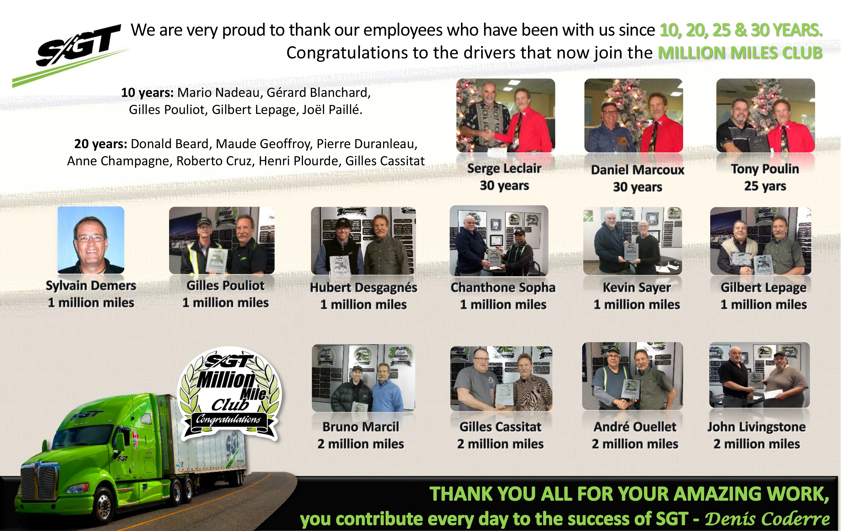 Thank you to our employees who have been with us for 10-20 and 25 years